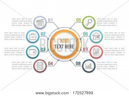 Infographic template with eight steps or options, workflow, process diagram, vector eps10 illustration