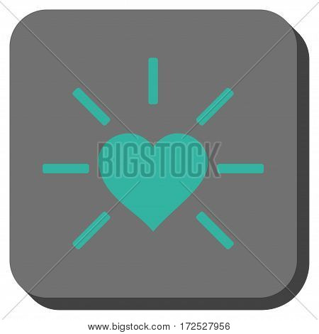 Shiny Love Heart square button. Vector pictograph style is a flat symbol inside a rounded square button, cyan and gray colors.