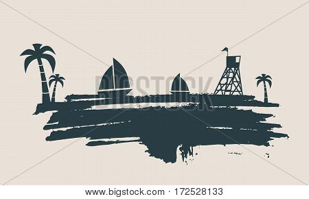 Vintage seaside view poster. Vector background. Palm and safeguard tower on the beach. Yacht in the ocean. Silhouettes on grunge brush stroke