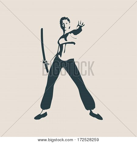 Kung Fu martial art silhouette of woman in sword fight Kung Fu pose