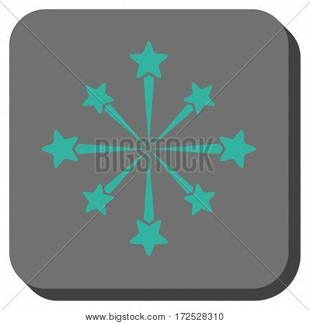 Star Burst Fireworks toolbar icon. Vector pictograph style is a flat symbol centered in a rounded square button, cyan and gray colors.