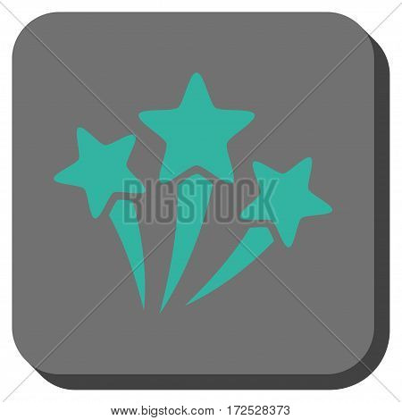 Star Fireworks square icon. Vector pictograph style is a flat symbol on a rounded square button, cyan and gray colors.