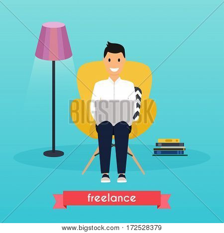 Man working at home. Young man sitting on a chair and using laptop at home. Freelance work from home self employed home office work at home freedom in living room. Work at home concept.