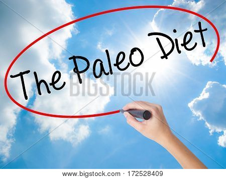 Woman Hand Writing The Paleo Diet With Black Marker On Visual Screen