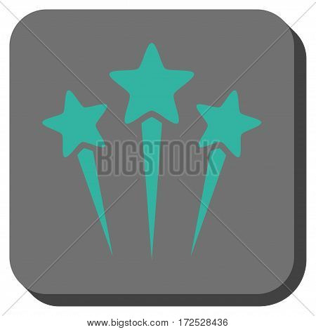 Star Salute square icon. Vector pictograph style is a flat symbol on a rounded square button, cyan and gray colors.