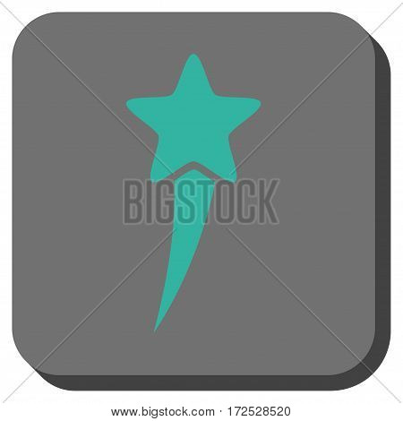 Starting Star interface toolbar icon. Vector pictograph style is a flat symbol in a rounded square button, cyan and gray colors.