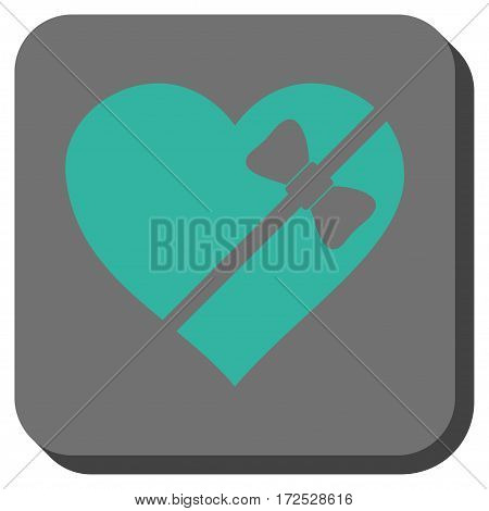 Tied Love Heart toolbar button. Vector pictograph style is a flat symbol centered in a rounded square button, cyan and gray colors.