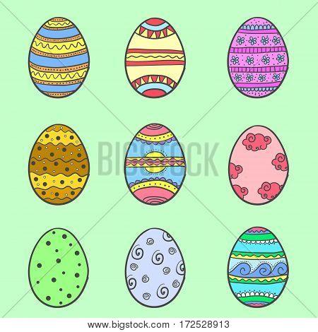 Set of easter egg various doodles vector art