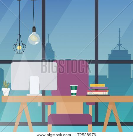Office work place. Flat design modern vector business concept.