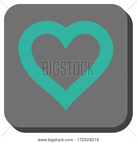 Valentine Heart interface toolbar button. Vector pictograph style is a flat symbol in a rounded square button, cyan and gray colors.