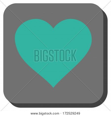 Valentine Heart toolbar button. Vector pictogram style is a flat symbol in a rounded square button, cyan and gray colors.