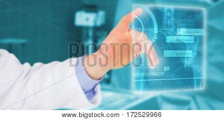 Cropped image of male doctor touching screen against surgical tools on the table 3d