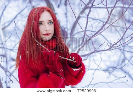 Portrait of a romantic young woman with red hair in red coat in winter forest