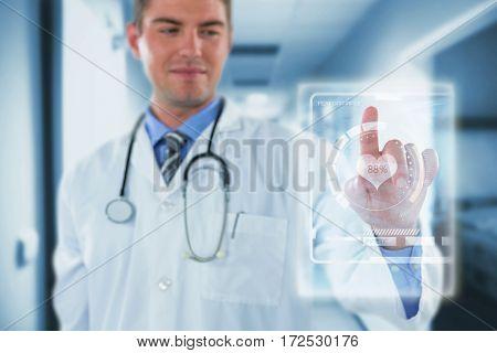 Doctor touching an digital screen against vacant corridor 3d