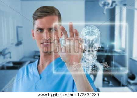 Happy male nurse touching invisible screen against skull and brain graphic on black 3d