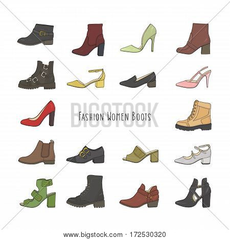 Collection of various trendy fashion colorful shoes.