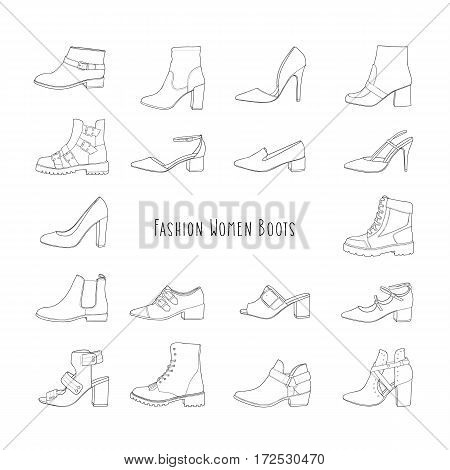 Collection of various trendy fashion contour shoes.
