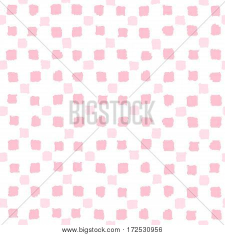 Pink squares seamless pattern. Vector hand drawn background