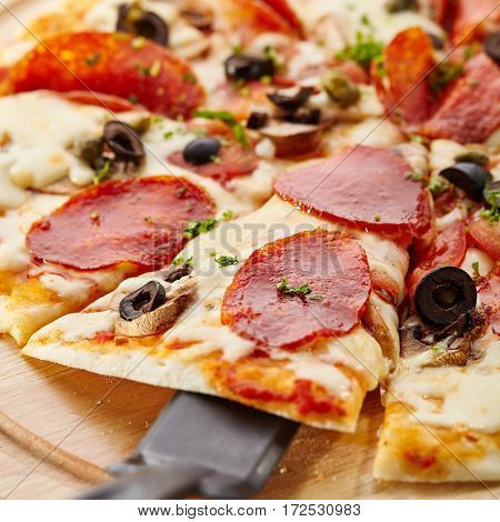 Traditional Italian Pizza - Pizza made with Salami, Mozzarella, Mushrooms, Olives and Tomato Sauce