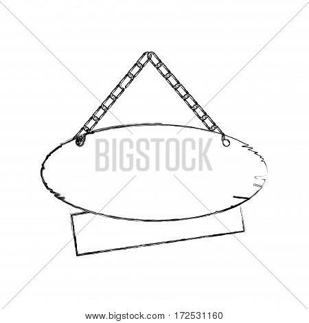 monochrome contour of pair pieces wooden sign board with chains vector illustration