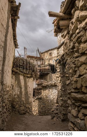 Traditional stone buildings in Muktinath village in Upper Mustang area, Nepal