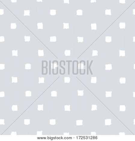 Grey and white squares background. Vector hand drawn seamless pattern