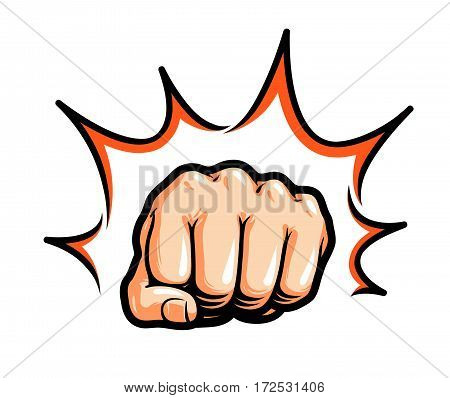 Hand, fist punching or hitting. Comic pop art, symbol. Vector illustration isolated on white background