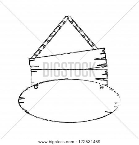 monochrome contour of pair pieces old wooden sign board with chains vector illustration