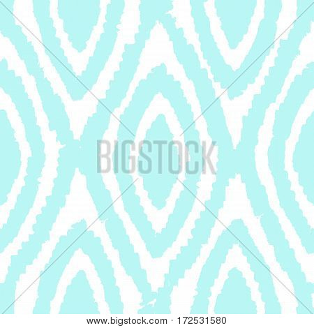 Blue rhombus background. Vector hand drawn seamless pattern