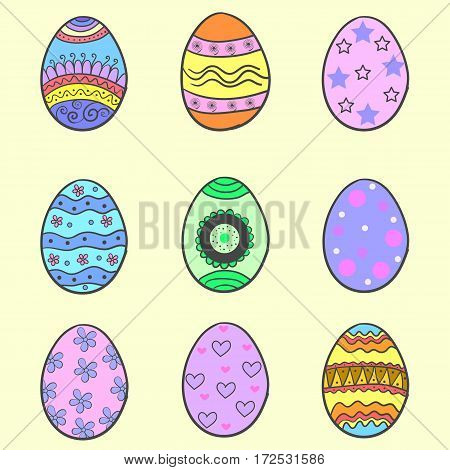 Doodle of easter egg style collection vector art