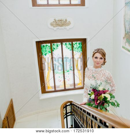 Portrait of a bride who is preparing for the wedding ceremony