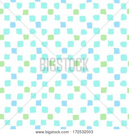 Blue and green squares background. Vector hand drawn seamless pattern