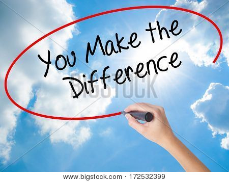 Woman Hand Writing You Make The Difference With Black Marker On Visual Screen