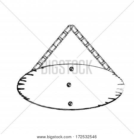 monochrome contour of oval wooden sign board with chains vector illustration