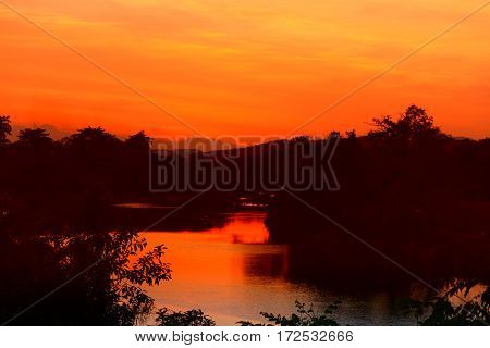 sunset beautiful colorful landscape and silhouette tree in sky twilight time