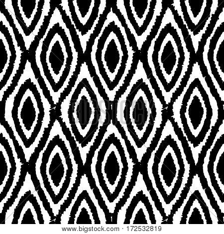 Black and white monochrome background. Vector hand drawn seamless pattern