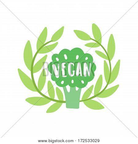 Vegan illustration. Vector broccoli laurel and lettering