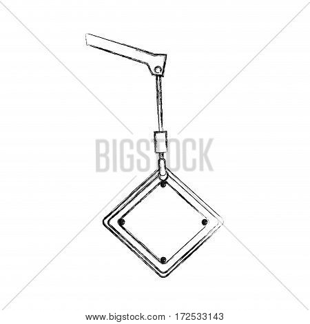 monochrome contour hand drawing of crane hook holding a diamond traffic sign vector illustration