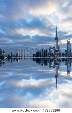 Shanghai skyline landmarks of Shanghai with Huangpu river in China.