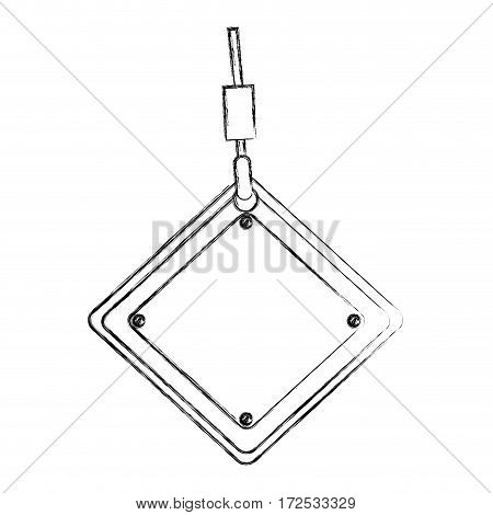 monochrome contour hand drawing of hook holding a traffic sign vector illustration
