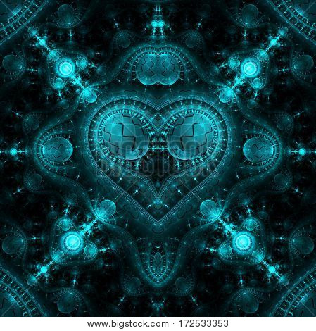 Abstract Ornamented Steampunk Heart. Fantasy Detailed Fractal Background In Cyan Blue Colors. Digita