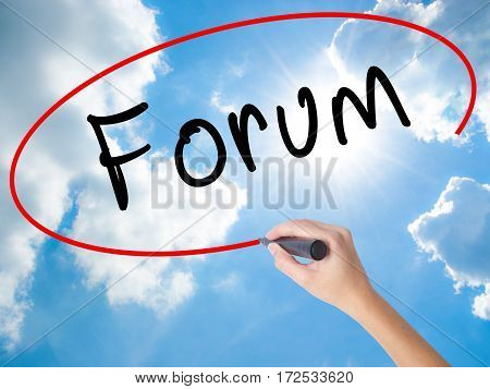 Woman Hand Writing Forum Black Marker On Visual Screen