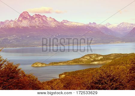 View On The Beagle Channel In Tierra Del Fuego, Ushuaia, Argentina