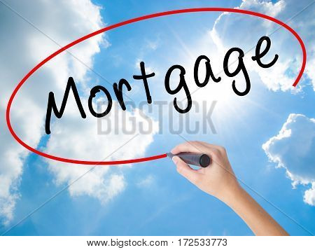 Woman Hand Writing Mortgage With Black Marker On Visual Screen