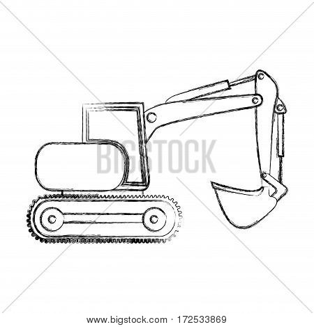 monochrome contour hand drawing of backhoe with crane for construction vector illustration