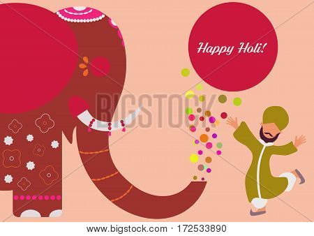 Colourful composition with ornamental elephant and happy indian man in traditional red clothes