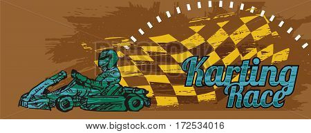 Image of kart runner with grunge background and checkered flag