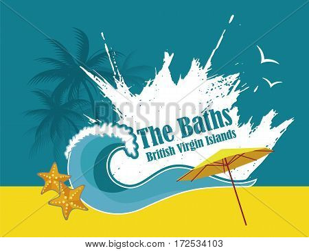 Vector with image of marine wave of caribbean beach, the baths