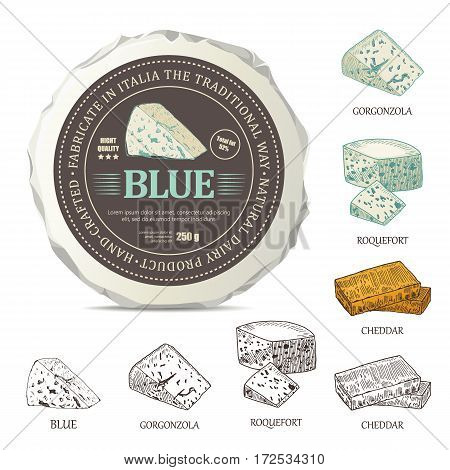 Blue cheese sticker design on mockup wrapper. Vector label with outline curds set. Hand drawn template used for advertising cheese and graphic icons good for logo design or emblem creation.