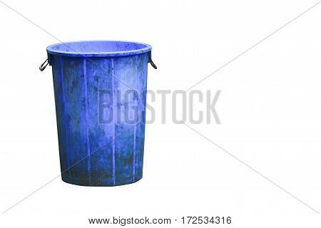 trashcan blue plastic recycle bin isolated on white background and clipping path